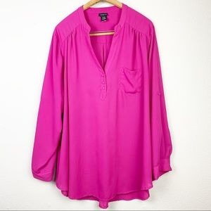 Torrid Button-Tab Sleeves Hot Pink Top Blouse 3X